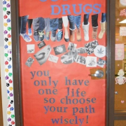 Batesville Middle School Door Decorating Contest sponsored by CHOICES. One of the winners was Mrs. Hilvert's class! The class received a waffle and ice cream party!